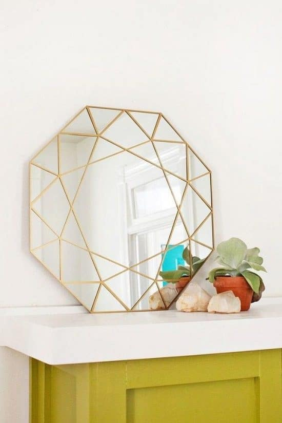 Geometric Mirror with Metallic Trim